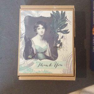 Set de correspondance aquarelles marines + coffret carte et enveloppes remerciement + plumier