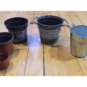 2 caches pots en aluminium et 3 pots plastiques