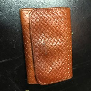 Portefeuille cuir orange