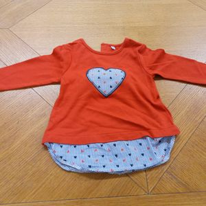 Tee-shirt fille rouge-gris 18 mois