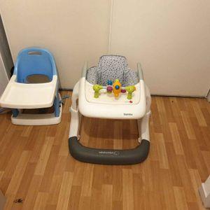 Une chaise haute bébé,et un trotteur de la marque Bébé Confort