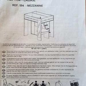 Mezzanine pour enfant démontée avec notice de remontage