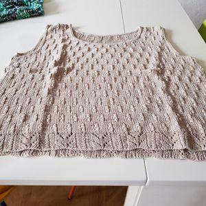 Débardeur coton tricoté mains