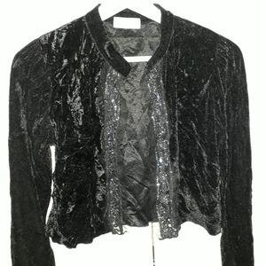 Petite veste velours noire et dentelle argentée  t.38/40