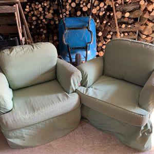 2 fauteuils housse verte