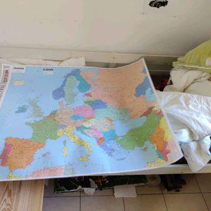 Très grande carte d'Europe plastifiée
