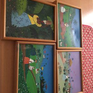 4 petits tableaux thème «Afrique»