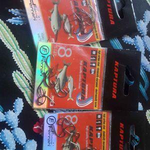 Trois paquet d'hameçon taille 8 pour la pêche