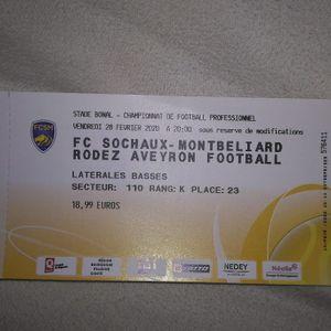 Billet de match FC SOCHAUX le 28/02