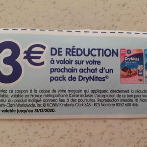 3 € réductions couches Dry night