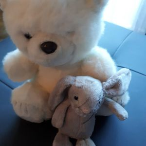 2 peluche  manque 1 oeil ours