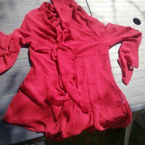 Chemise rouge transparente